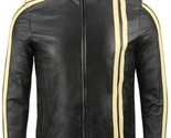 Black with yellow stripe biker leather jacket all sizes 4073 thumb155 crop