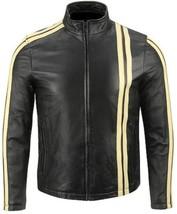 NWT Black with Cream Stripes Fashion Stylish Premium Genuine Real Leather Jacket image 1