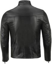 NWT Black with Cream Stripes Fashion Stylish Premium Genuine Real Leather Jacket image 2