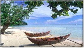 Scenic Boats on Tropical Beach Fridge Magnet - $1.99+