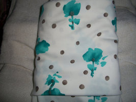 White Polyester Floral Fabric with Turquoise Flowers & Beige Polka Dots - $30.00