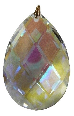 Swarovski 50mm Aurora Borealis Crystal Lattice Pear Prism