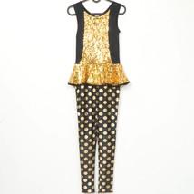 Weissman Gold Digger Unitard Dance Costume L Child Sequin Black Polka Do... - $25.51