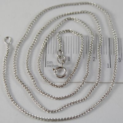SOLID 18K WHITE GOLD SPIGA WHEAT EAR CHAIN 20 INCHES, 1.2 MM, MADE IN ITALY