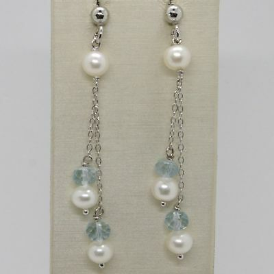 EARRINGS 925 SILVER RHODIUM PLATED WITH AQUAMARINE AND PEARLS WHITE