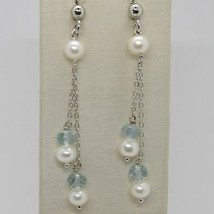 EARRINGS 925 SILVER RHODIUM PLATED WITH AQUAMARINE AND PEARLS WHITE image 1