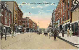 Main Street Waterville Maine vintage 1916 Post Card - $5.00