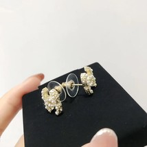 NEW AUTHENTIC CHANEL Classic Strass Crystal Pearl CC Logo Stud Earrings Gold  image 4