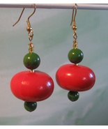 Long Christmas Handcrafted Dangle Earrings Vintage Beads - $8.95