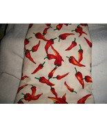 Red Pepper Print on White Cotton Fabric  - $10.00