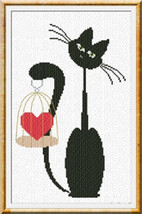 Valentine Meow cat cross stitch chart Alessandra Adelaide Needleworks - $15.30