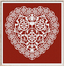 Lace Heart valentine cross stitch chart Alessandra Adelaide Needleworks - $14.53