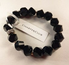Charter Club Black Beaded Stretch Bracelets - New - $14.85