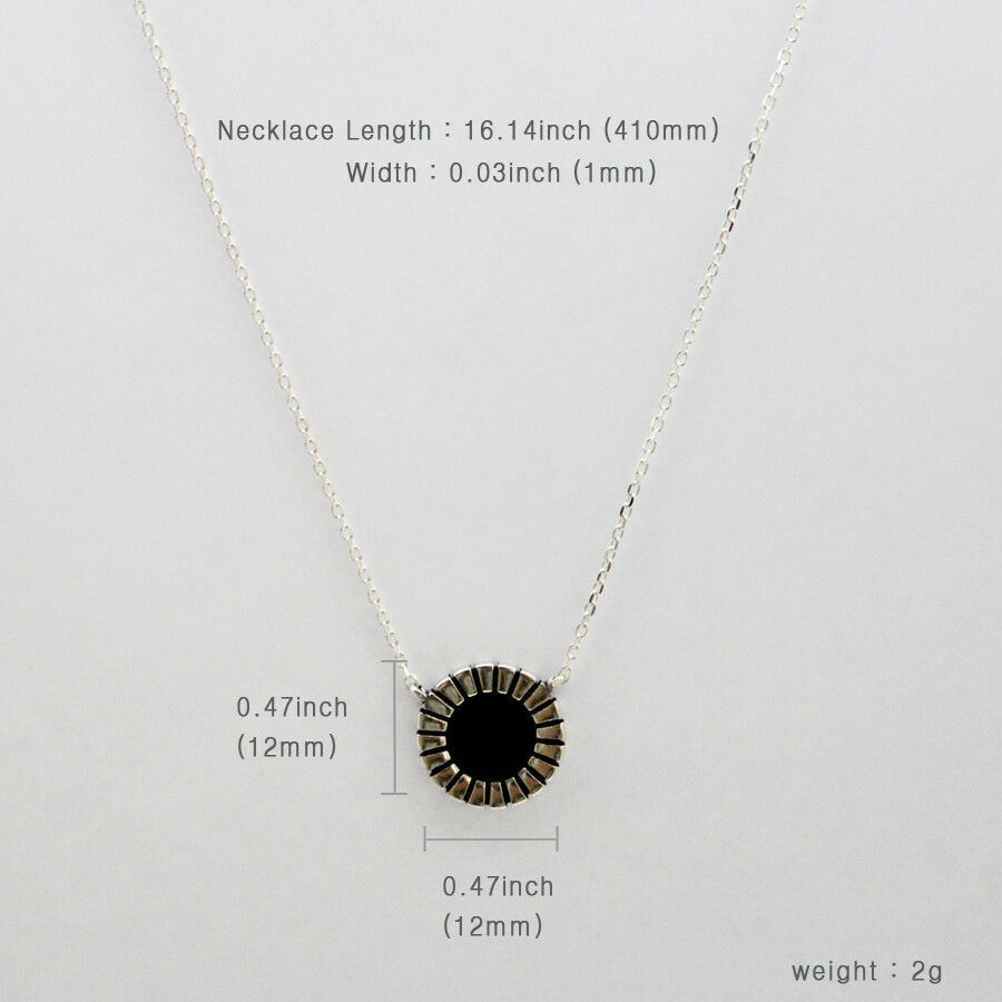 Round Circle Black Agate Necklace Sterling Silver 925  Princess Necklaces