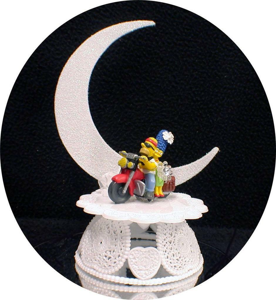 Primary image for Wedding Cake Topper Motorcycle Homer & Marge The Simpsons Simpson Groom top