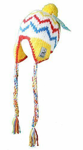 Neff Women's White Yellow Red Blue Kidd Crayon Ski Snowboard Beanie Tassels