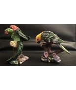 Colorful Two Parrots Resin Figurines Ships Free - $23.75
