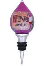 Wine About It Stopper Ne'Qwa Art Reverse Painted Glass New No Box  - $32.00