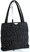 Auth Christian Dior Logos Black Fabric Canvas Small Tote Hand Bag Purse Italy - $98.01