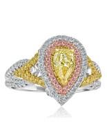 Certifié GIA 1.44 CT Poire Coupe Jaune VS2 Fiançailles Diamant Ring 18k ... - $3,759.22