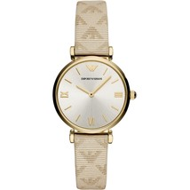 Emporio Armani AR11127 Cream Leather Stainless Steel Ladies Watch - $201.06