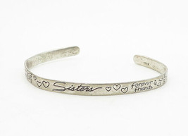 925 LA Silver - Vintage Etched Forever Friends Thin Cuff Bracelet - B6320 image 2