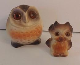 Vintage Mini Ceramic Owl Mother & Baby Sparklin... - $11.30