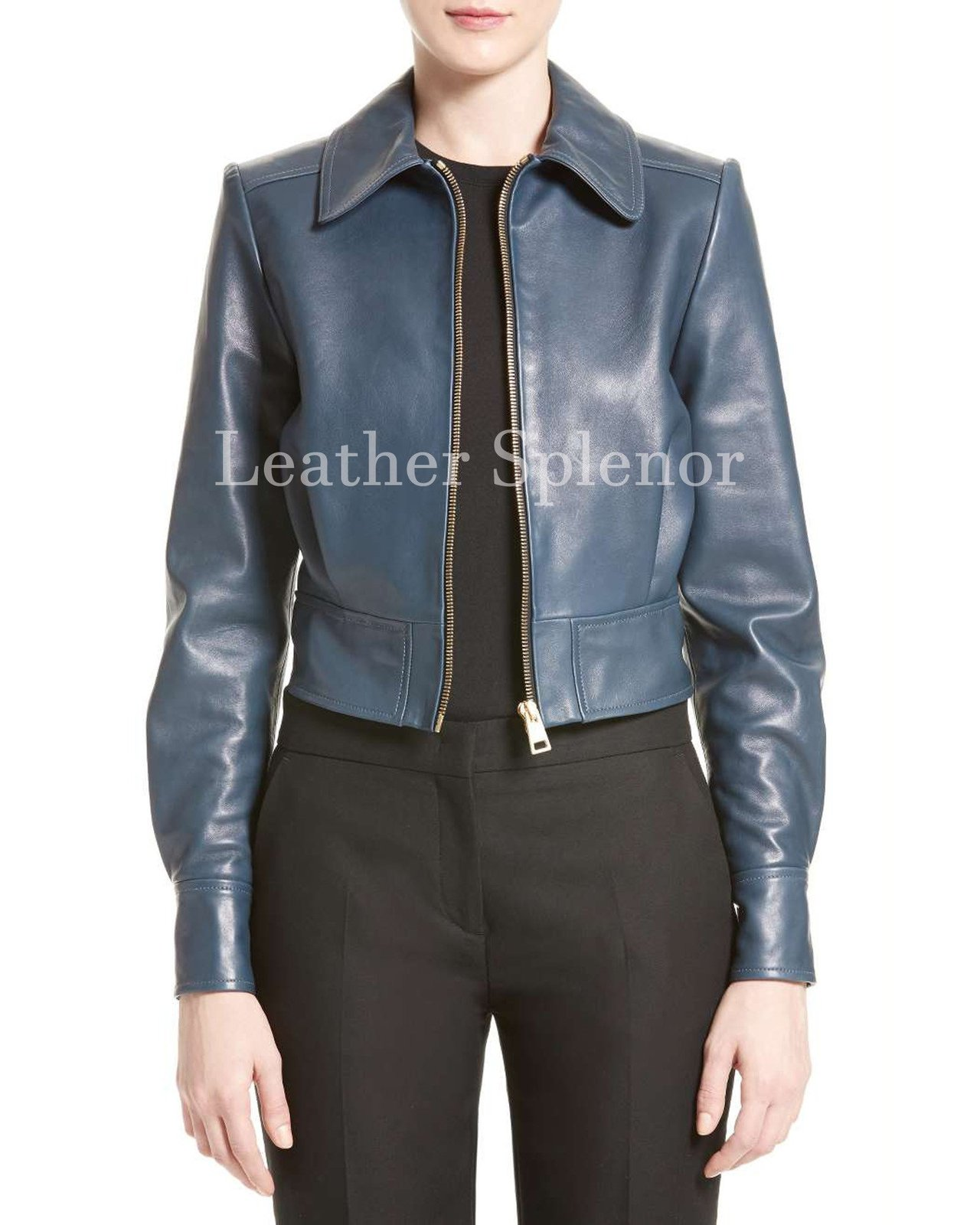 Tough Look Women Cropped Leather Jacket