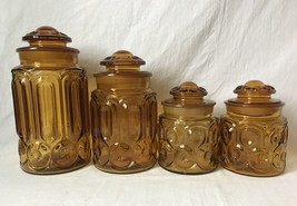 Vintage Amber Glass Canister Set of 4 LE Smith Moon and Stars - $64.30