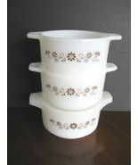 Set of Three (3) Dynaware Milk Glass Bowls - One Lid - Brown Daisy Design  - $12.00