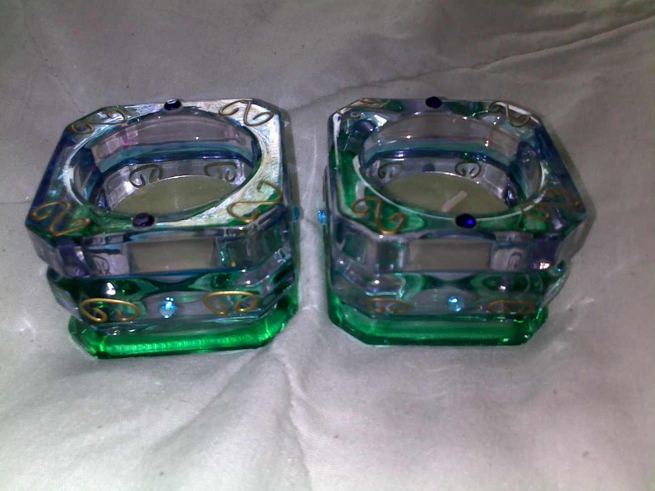 PARTYLITE  MARDI GRAS VOTIVE TEA LIGHT GLASS CANDLE HOLDER - SET OF 2