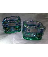 PARTYLITE  MARDI GRAS VOTIVE TEA LIGHT GLASS CANDLE HOLDER - SET OF 2  - $16.95