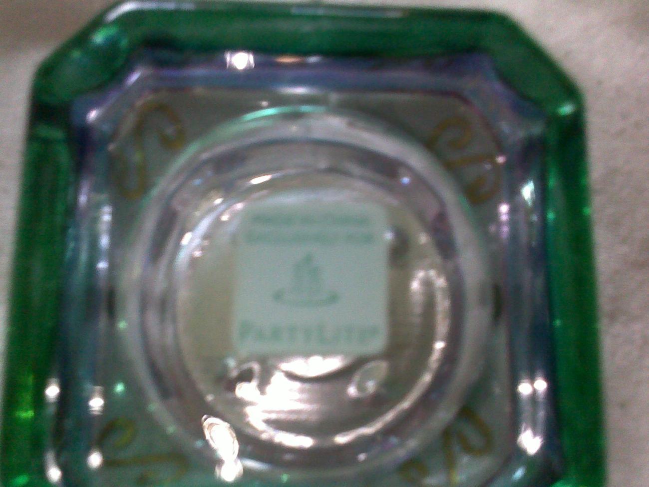 PARTYLITE  MARDI GRAS VOTIVE TEA LIGHT GLASS CANDLE HOLDER - SET OF 2