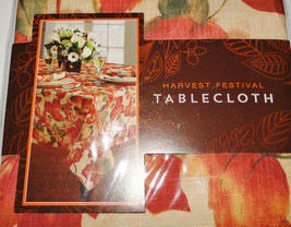 Harvest Festival Fall Leaves Fabric Tablecloth 60 x 84 - $29.00