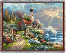70x53 Coastal Splendor LIGHTHOUSE Ocean Sea Throw Blanket  - $60.00