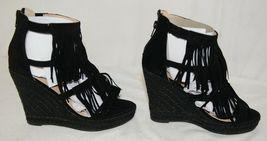 BF Betani Shiloh 8 Black Fringe Wedge Heel Sandals Size 6 image 4