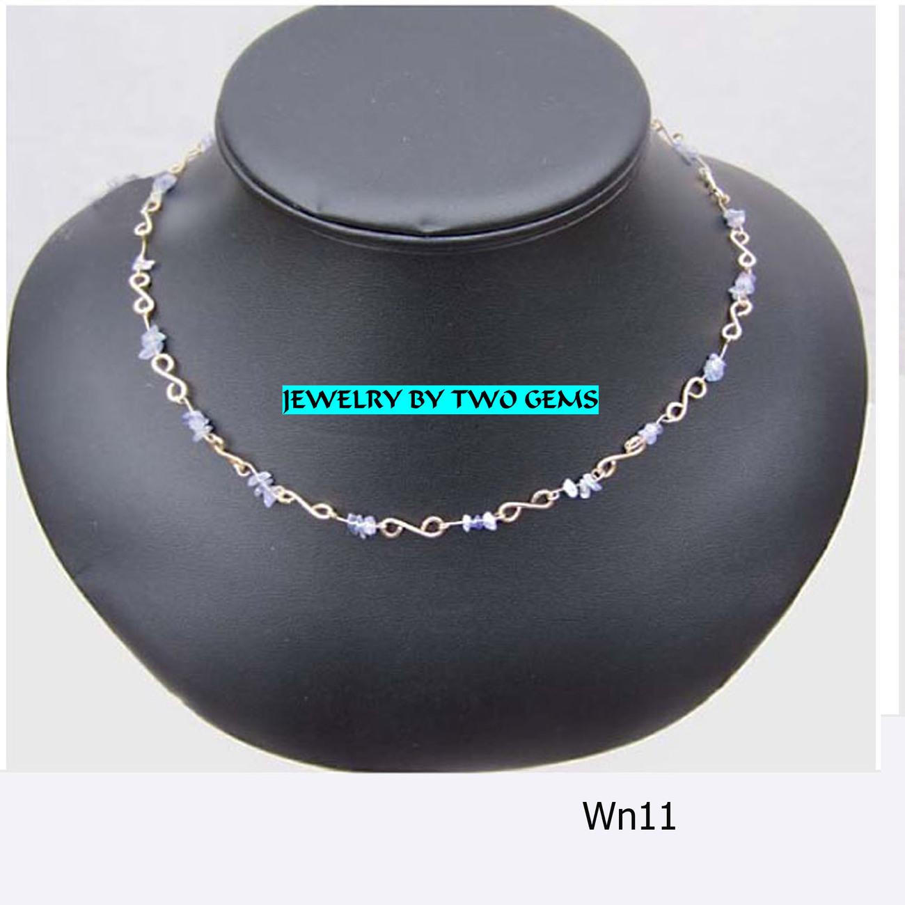 Jewel By Two Gems (WN11)14Kt GF Wire Wrap Necklace w Tanzani