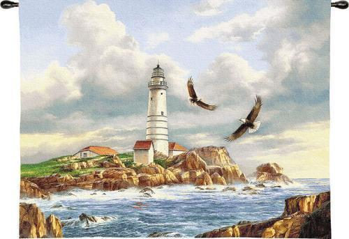 Primary image for 41x52 Boston Lighthouse Sea Ocean Tapestry Wall Hanging