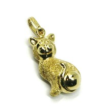 ROUNDED 18K YELLOW GOLD CAT PENDANT, DOUBLE FACE, SMOOTH SATIN 22mm, 0.87 inches image 1
