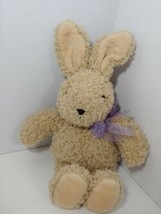Manhattan Toy brown tan plush bunny rabbit purple bow 1997 vintage curly... - $49.49