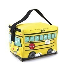 Yellow School Bus Insulated Nylon Lunch Bag Zips Closed Black Strap 8' x... - $19.95