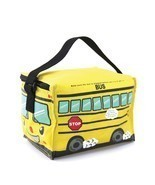 Yellow School Bus Insulated Nylon Lunch Bag Zips Closed Black Strap 8' x... - £15.53 GBP
