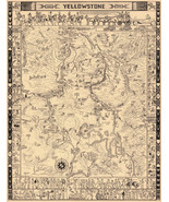 Yellowstone National Park Whimsical Pictorial LARGE Wall Map Art Poster ... - $12.38