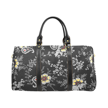 Black Floral Pattern Gucci Style Large Travel Bag Custom Handmade Women ... - $129.97