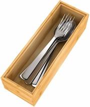 HOT Drawer Organizer Bamboo Storage Box - Kitchen Bathroom Desk Wood Sta... - $16.92