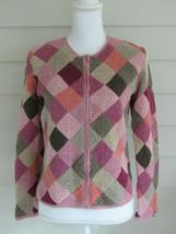 Talbots Multi Color Lightweight Cotton Blend Zippered Cardigan Sweater S... - $19.59