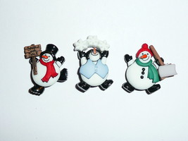 "Roly Poly Jolly Snowmen Buttons 3D Realistic Shank Buttons 1-1/4"" (3) Ch... - $6.64"