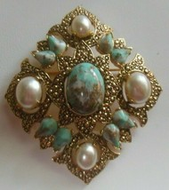Vintage Large Sarah Coventry Faux Turquoise/Pearl Brooch/Pendant - $49.01