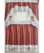 "Kitchen Embroidered Curtains Set:2 Tiers (30""x36"") & Swag(60""x36"") BUTTE... - $23.75"
