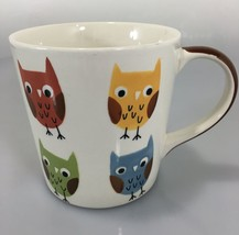 Pier One Multi-Color Owls Handpainted Stoneware Coffee Mug 14 oz Tea Cocoa - $33.81